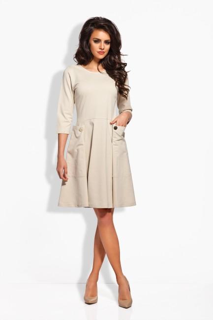 ebd3fa42a03b Béžové dámske šaty s dvomi gombíkmi - JOIE.SK
