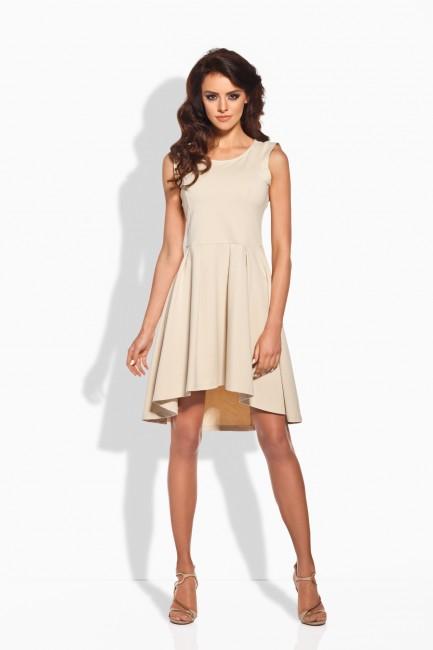 Béžové dámske šaty s nariasenou sukňou zväčšiť obrázok 302ae8f2b44