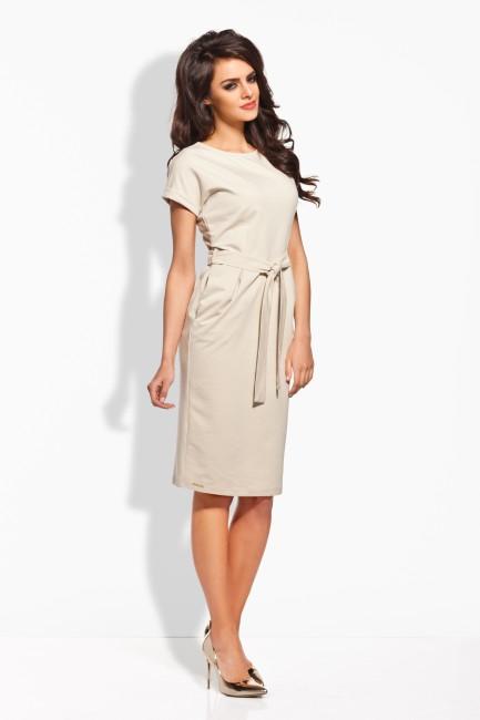 5f9d423a8 Béžové dámske šaty s opaskom L129 - JOIE.SK