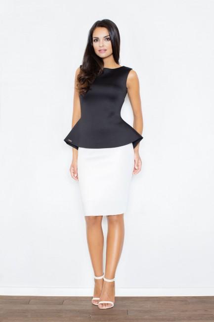 5e8812b13f0d Biela sukňa FG M359 zväčšiť obrázok. Dočasne vypredané. jednoduchá biela  puzdrová sukňa na postave zo zadu