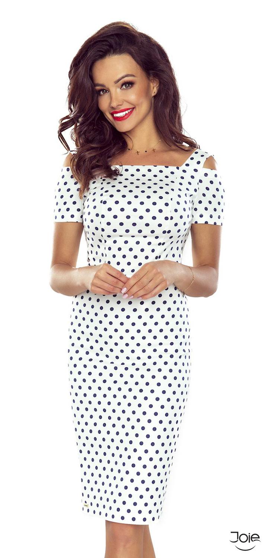 d619a568ac58 Biele bodkované bavlnené puzdrové šaty 85-02 zväčšiť obrázok