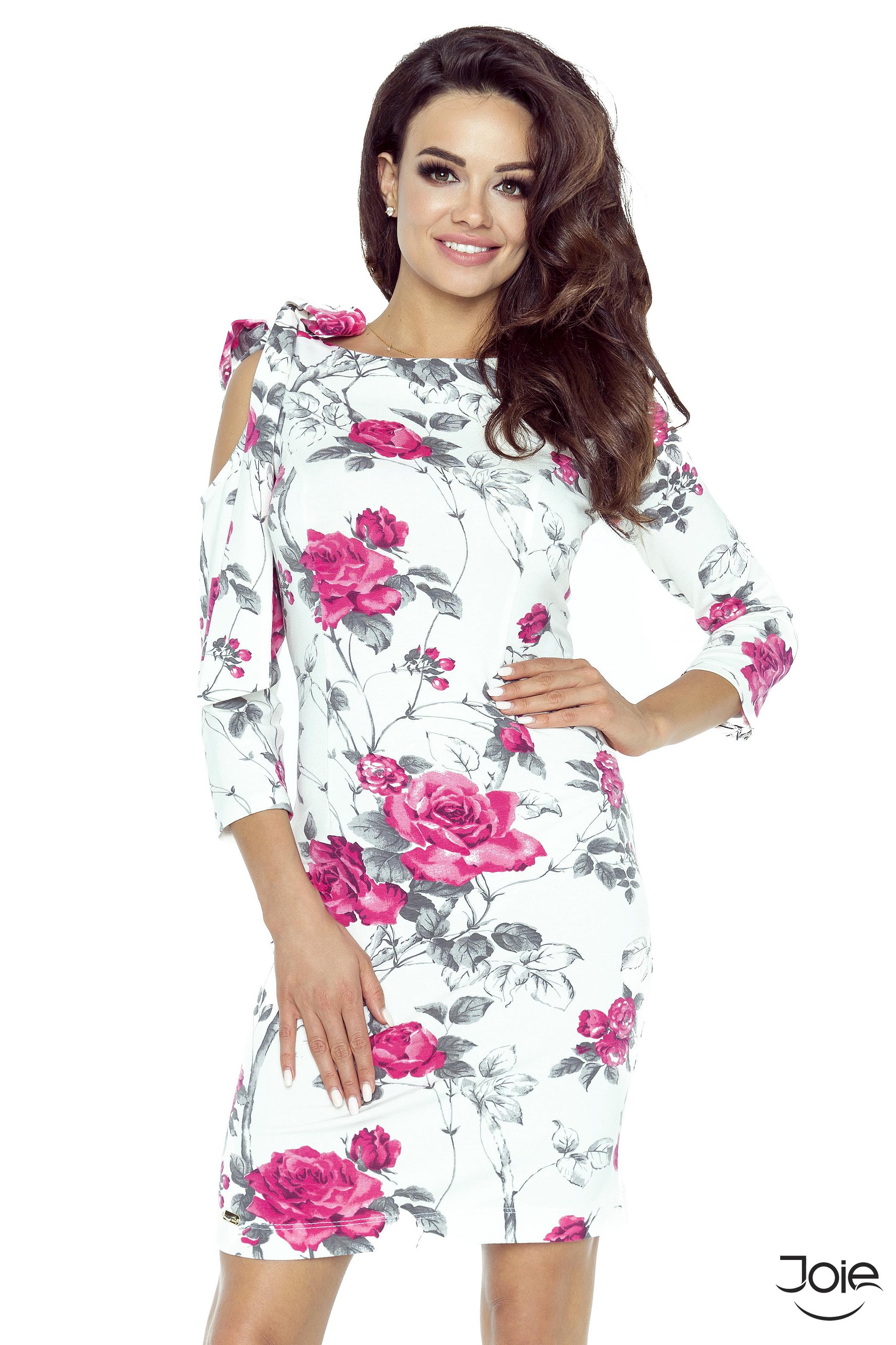 7d940f7413fe Biele krátke kvetované dámske šaty 69-07 - JOIE.SK