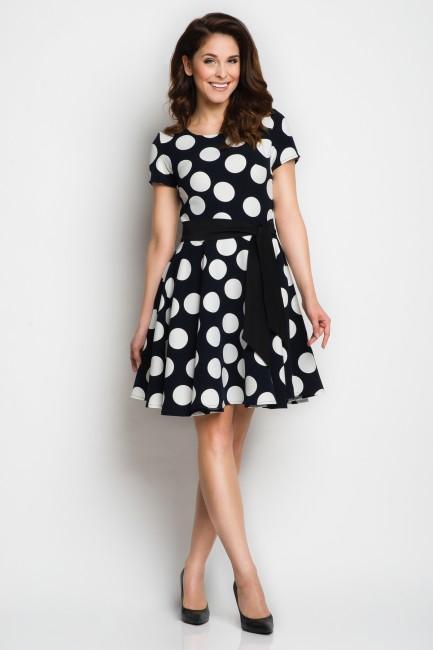 Bodkované bielo čierne dámske šaty A103 - JOIE.SK d80fbbb4dae