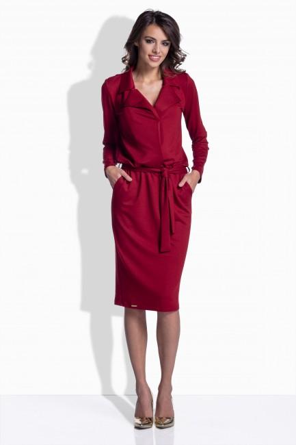 Bordové bavlnené šaty s opaskom 161 zväčšiť obrázok 4a33ab8051b