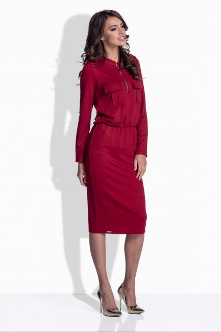 7169516d4d9a Bordové bavlnené šaty so zipsom 160 - JOIE.SK