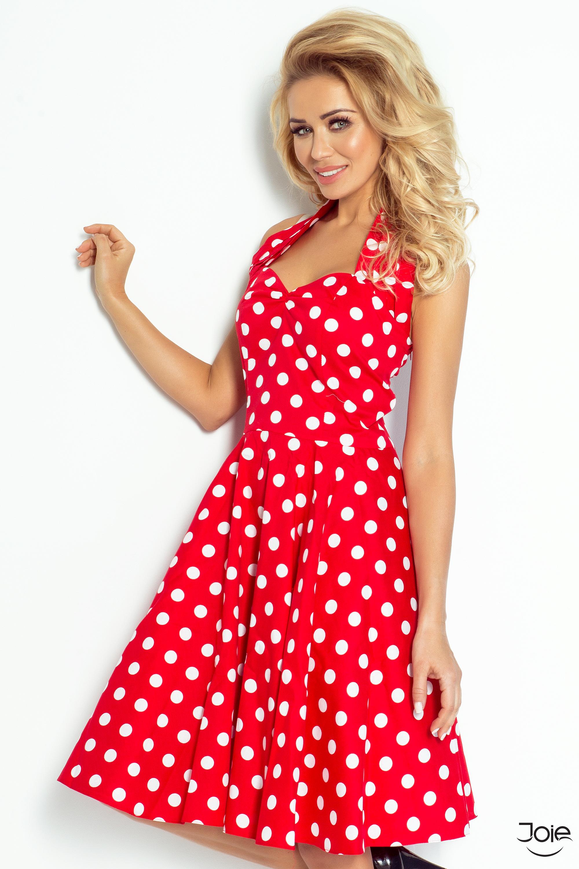 5bec7e0929b6b Červené bodkované letné retro šaty 30-12 - JOIE.SK