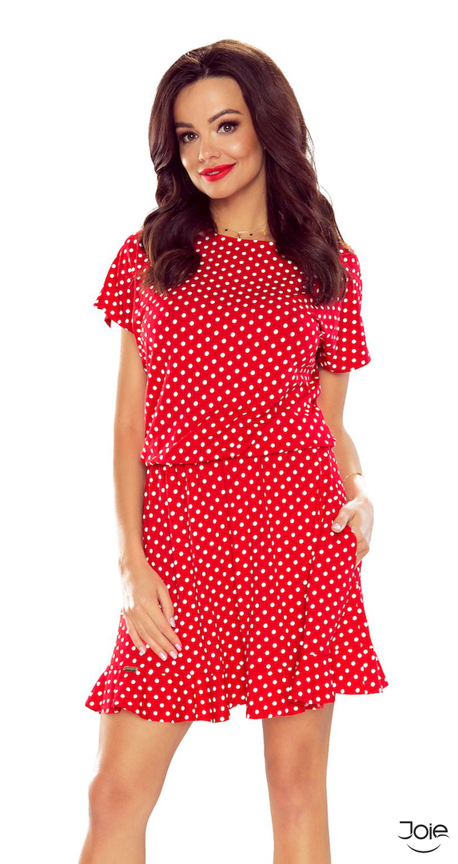 30b4ecb70502 Červené dámske šaty s bodkami áčkového strihu 63-10 zväčšiť obrázok.  Novinka. červené bodkované letné šaty ...