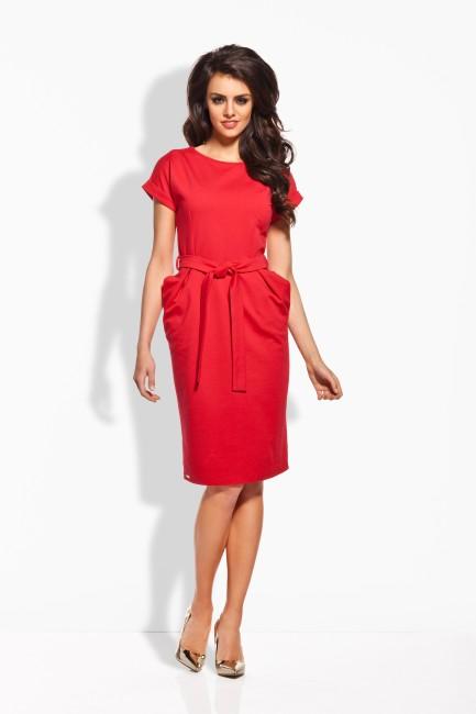 e17dcac6e Červené dámske šaty s opaskom L129 - JOIE.SK