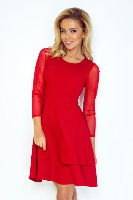 Elegantné šaty. Červené dámske šaty s tylovými rukávmi 141 2 839284e1fd6