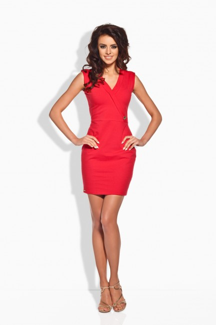 Červené krátke šaty so zlatým gombíkom - JOIE.SK 7f1a56b0fef