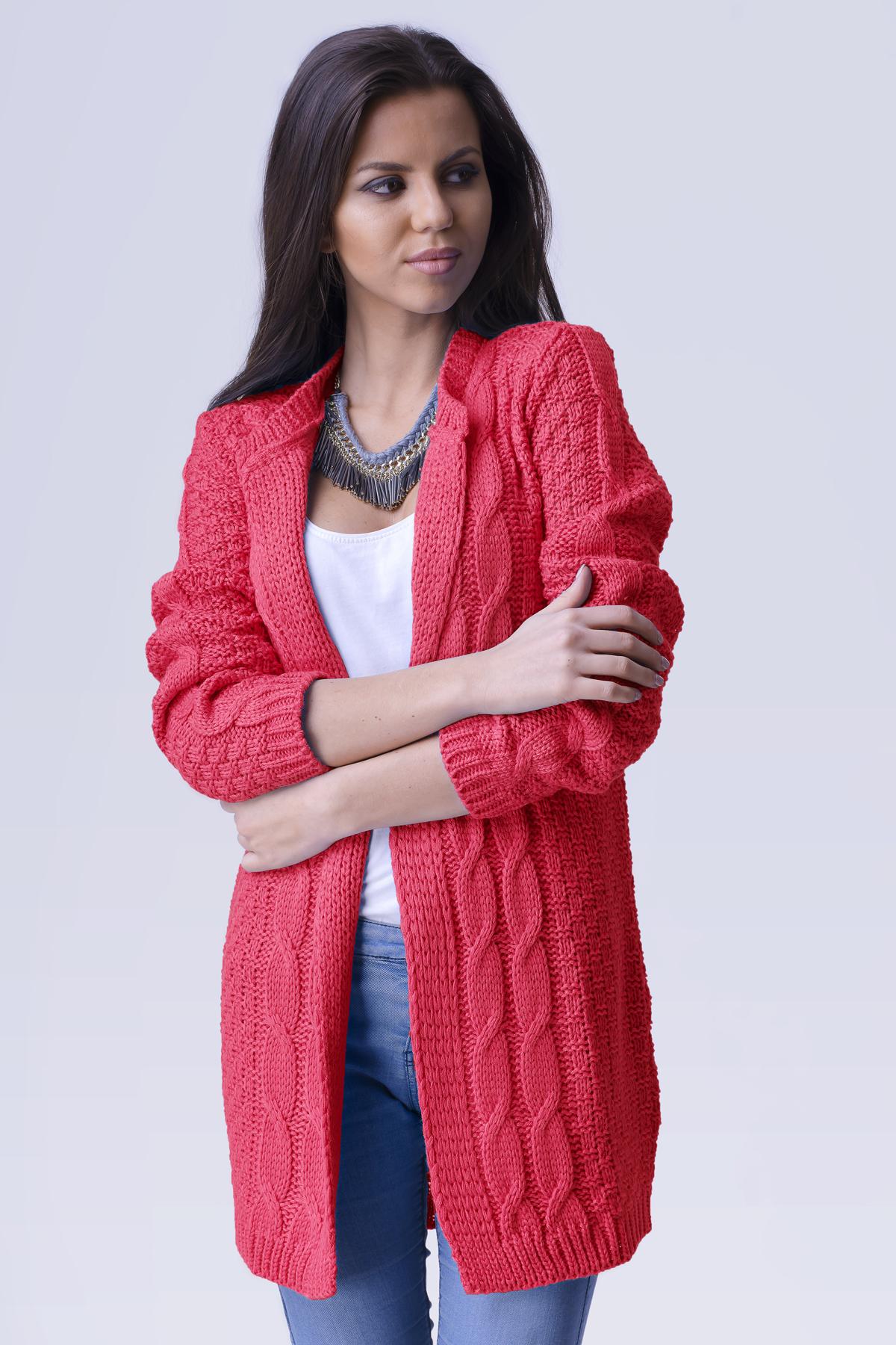 5916c66ffd6a Červeno ružový dámsky sveter April zväčšiť obrázok