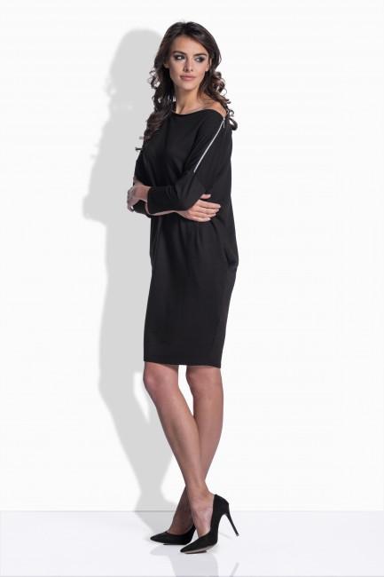 879fa1cd74c3 Čierne bavlnené šaty s detailom na ramene 158 - JOIE.SK