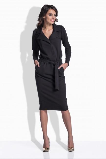 0a0385f53f01 Čierne bavlnené šaty s opaskom 161 - JOIE.SK