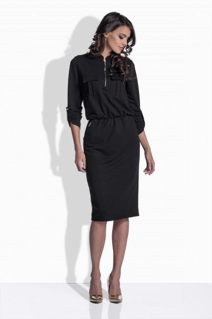75d6cad2790e Čierne bavlnené šaty so zipsom 160 - JOIE.SK