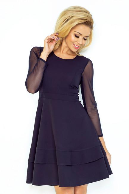 2e334b877d83 Dámske šaty s tylovými rukávmi modré 141 1 - JOIE.SK