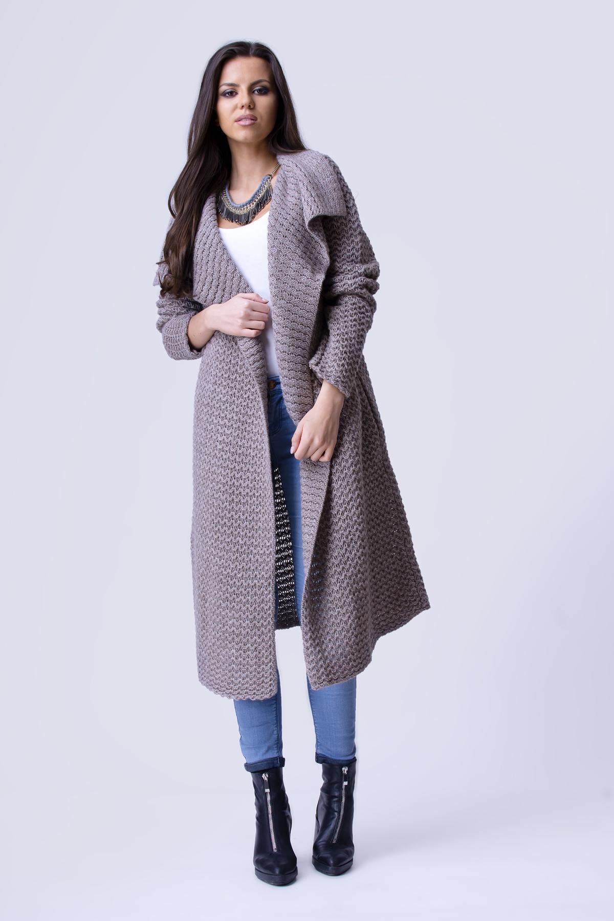 Dlhý dámsky sveter HAZEL vo farbe mocca zväčšiť obrázok 94afc49b28