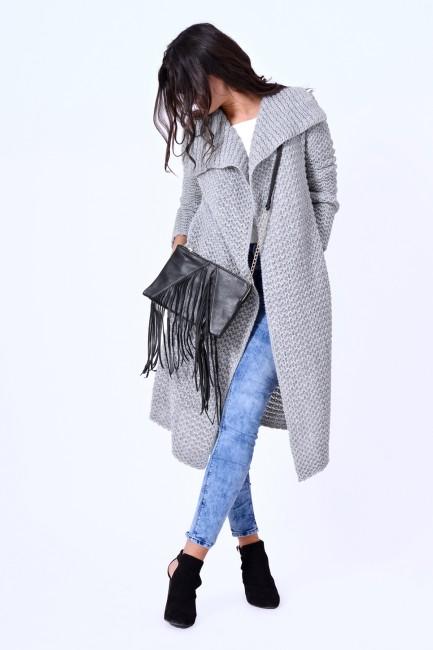Dlhý dámsky sveter HAZEL v šedej farbe zväčšiť obrázok ecdb86e447