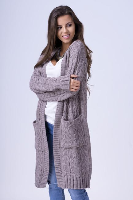 86cf170451f2 Dlhý dámsky sveter s vreckami ALBA mocca zväčšiť obrázok