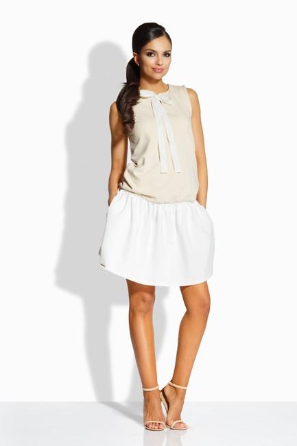 8359392d3397 Dvojfarebné bežovo-smotanové šaty s mašľou L214 zväčšiť obrázok