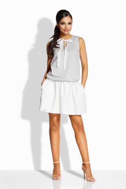 4f65dbb123ac Dvojfarebné šedo smotanové šaty s mašľou L214 - JOIE.SK