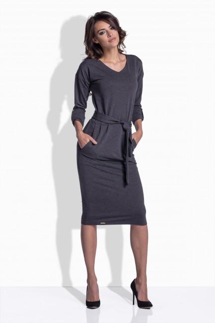 671688ffa0fb Grafitové dámske šaty s viazaním 157 - JOIE.SK