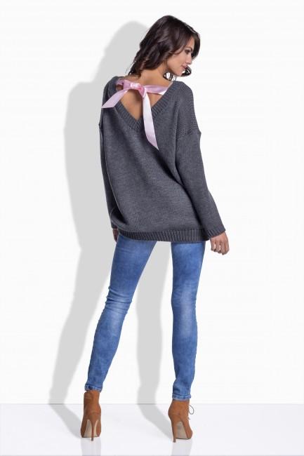 60cbd0938901 Grafitový pletený sveter so saténovou mašľou 176 zväčšiť obrázok