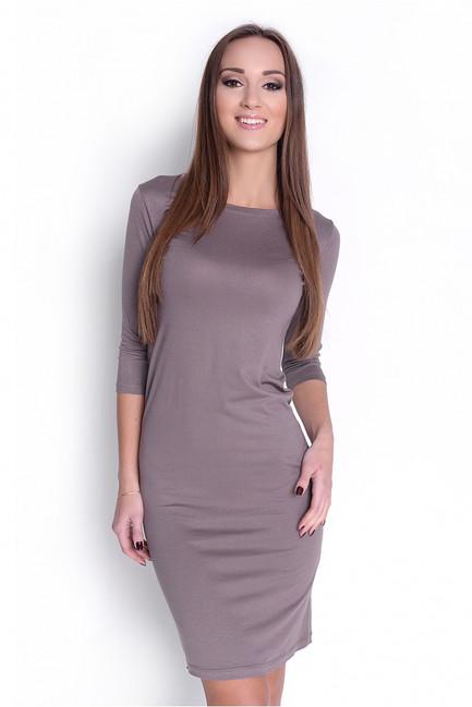 Jednoduché hnedé prilehavé šaty OX8194 6921d168e5a