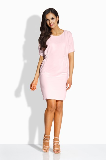 9d7a80ad2893 Jednoduché ružové šaty s nariasením v páse L206 - JOIE.SK