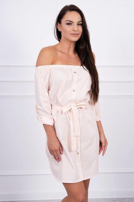 b460739e7e66 Jemne ružové pásikavé letné šaty s odhaleným ramenami K12693 - JOIE.SK