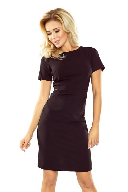 7520b5c7bccf Klasické puzdrové čierne šaty s krátkym rukávom 150-3 zväčšiť obrázok