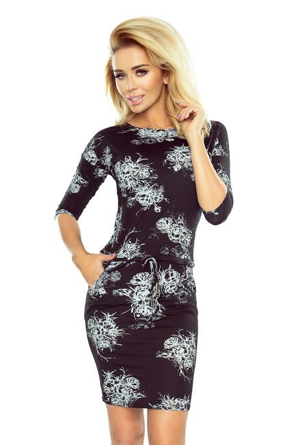 8f490693387b Krátke čierne šaty s potlačou kvetov 186-1 zväčšiť obrázok