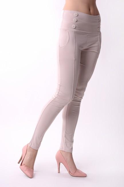 f7b687c3e351 Legínové dámske nohavice OX1052 béžové - JOIE.SK