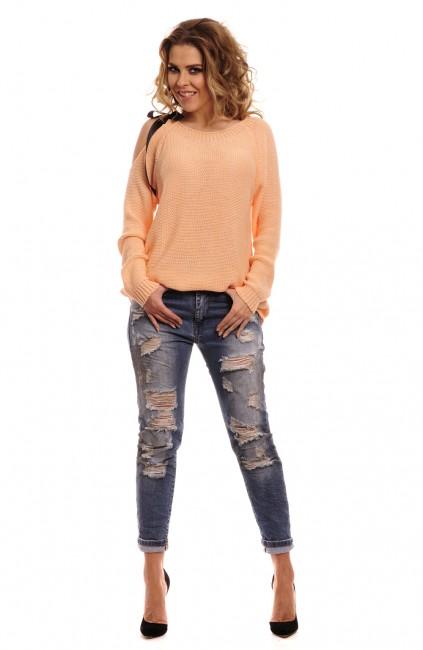 599b4e310b01 Marhuľkový dámsky sveter s mašľou zväčšiť obrázok