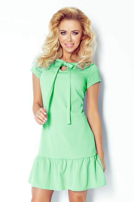 Mätové letné mini šaty s mašľou 101-2 - JOIE.SK f8c5eaa077