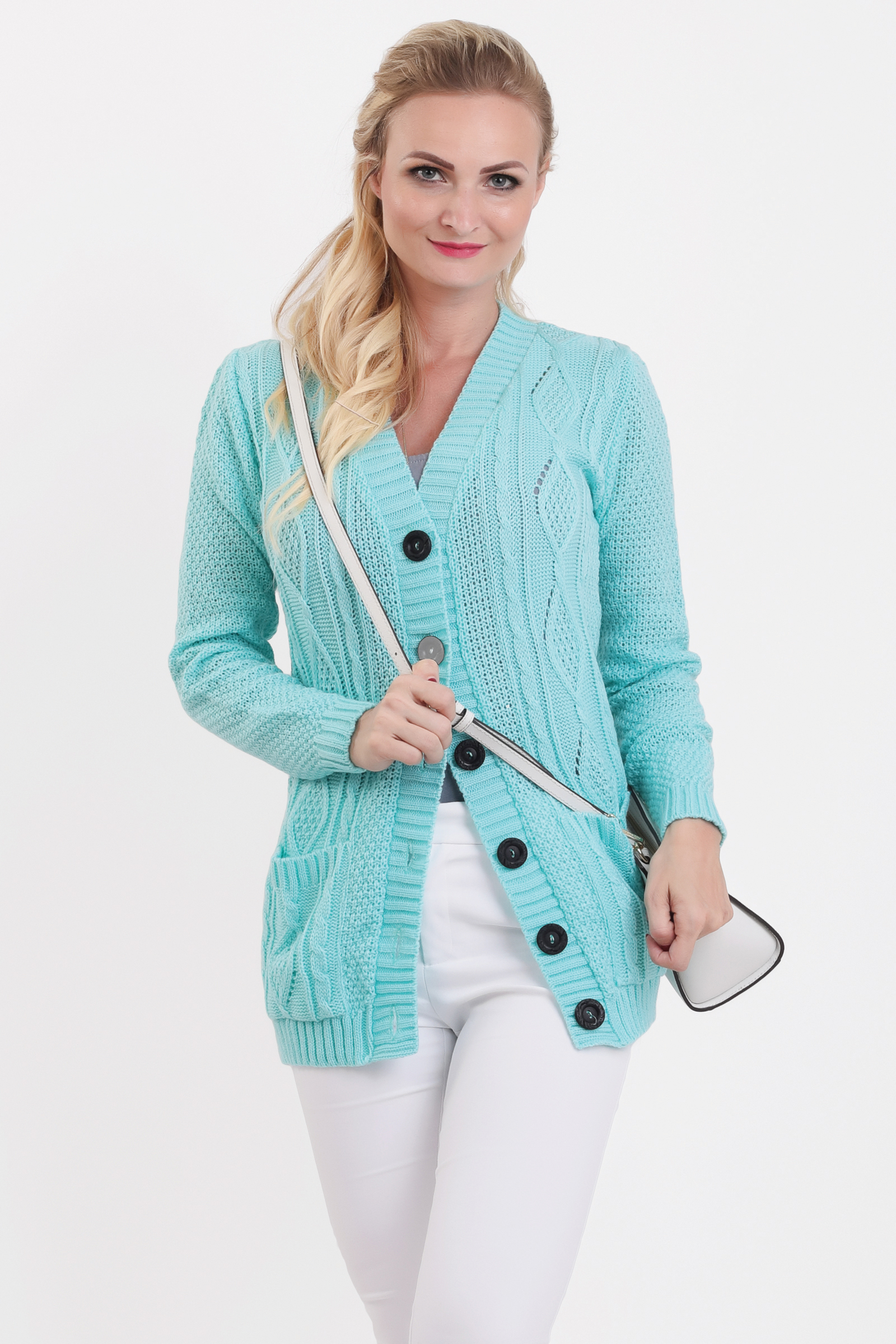 a99685fd9e34 Dámske svetre. Mätový pletený sveter na gombíky SELMA zväčšiť obrázok