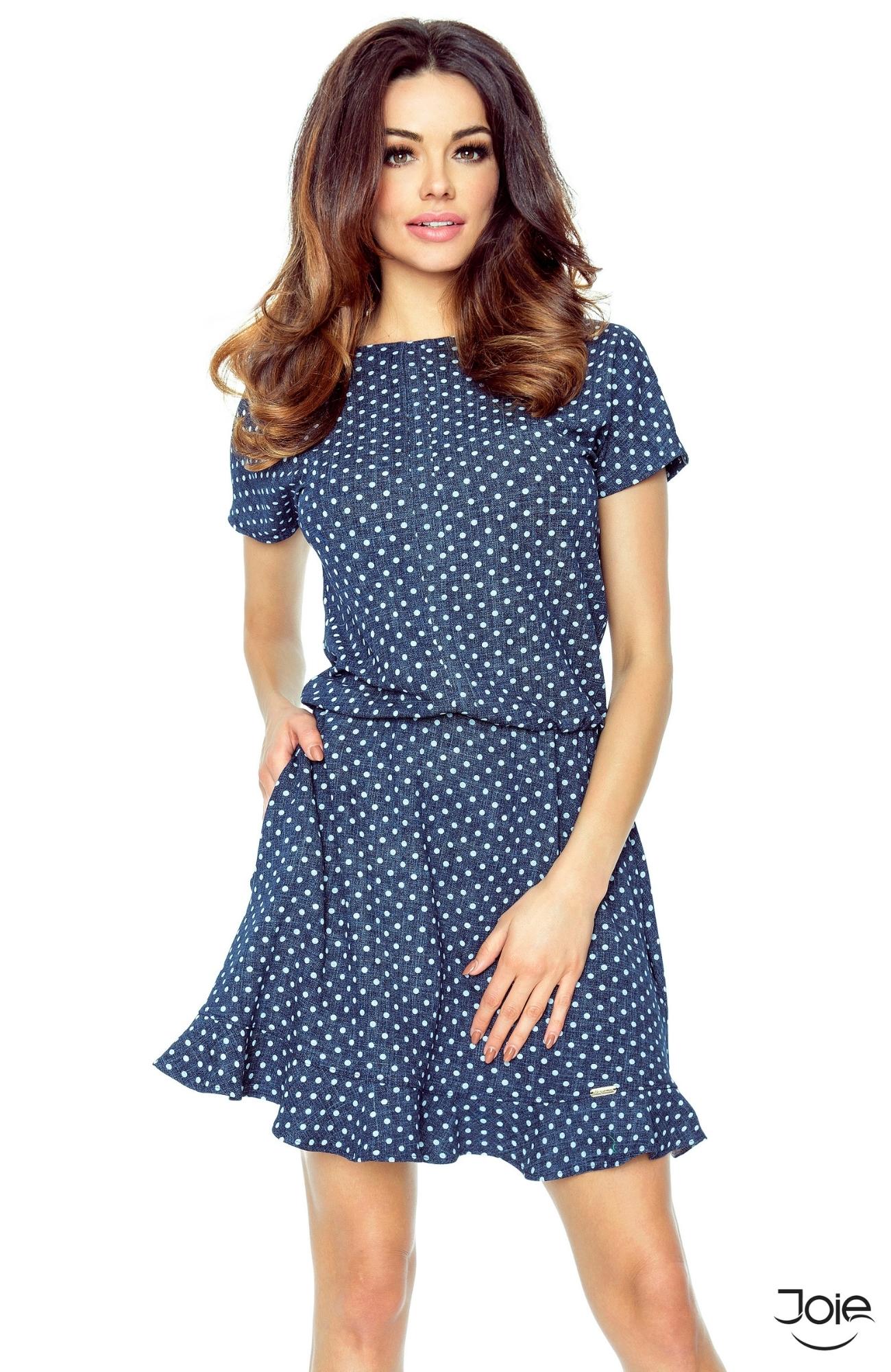 2fea1cae6db2 Modré dámske šaty s bodkami áčkového strihu 63-04 zväčšiť obrázok