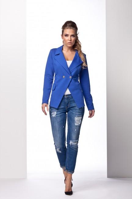 Modré dámske sako s dvomi gombíkmi - JOIE.SK c6e973bd7ed