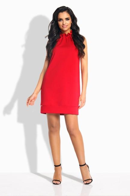 ec62e542f5af Oversize rovné červené šaty s volánom okolo krku L192 - JOIE.SK