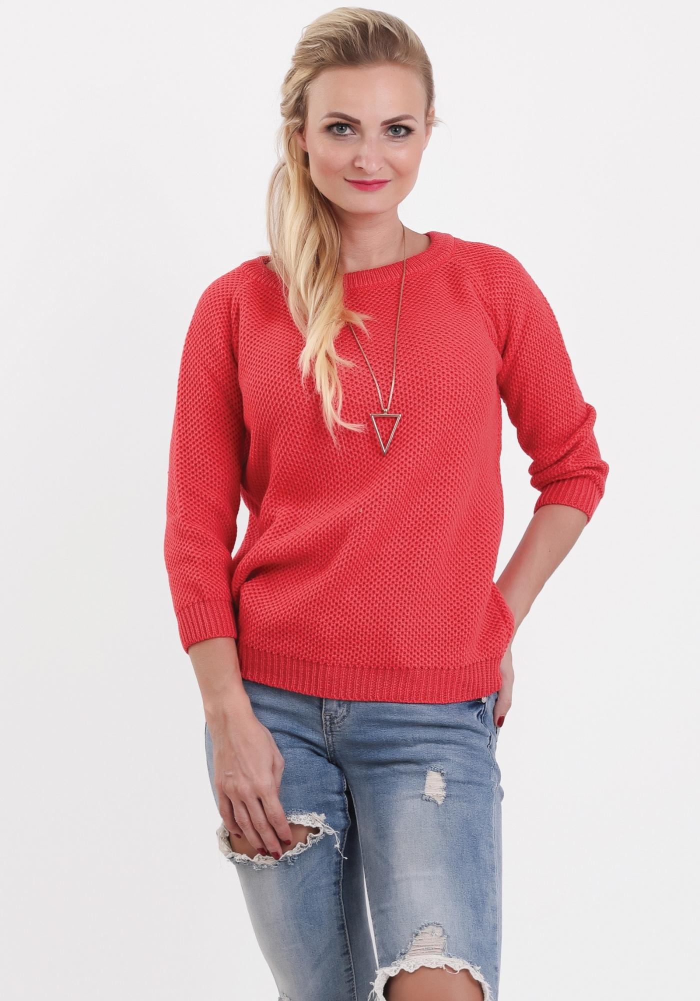 9c4d9cf5a70b Dámske svetre. Pletený korálový pulóver Honey zväčšiť obrázok
