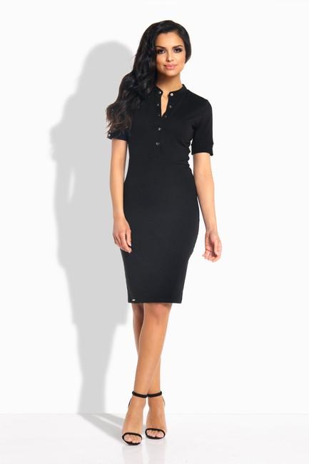 0ecd89403c74 Puzdové čierne šaty so zapínaním na gombíky L191 zväčšiť obrázok