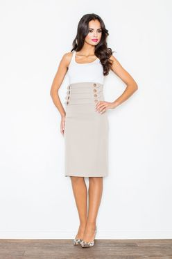 Béžová sukňa s vysokým pásom M036