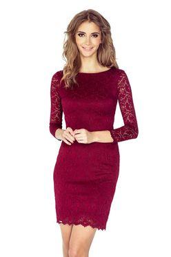 Bordové čipkované dámske šaty 145-2