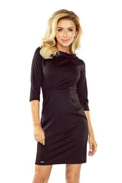 Čierne krátke puzdrové šaty s 3/4 rukávom 154-1