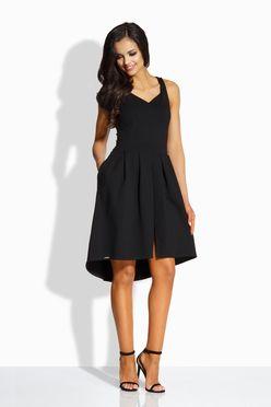 Dámske áčkové šaty s vreckami v čiernej farbe L210