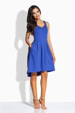 Dámske áčkové šaty s vreckami v modrej farbe L210