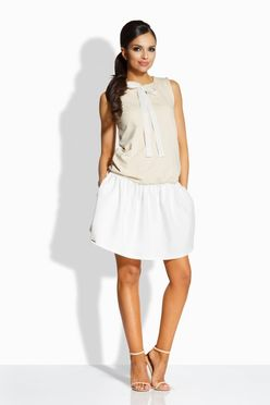 Dvojfarebné bežovo-smotanové šaty s mašľou L214