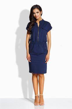 Elegantné šaty v námornickej modrej so zipsom vpredu L207