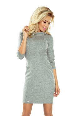 Jednoduché elastické dámske šaty s 3/4 rukávom 154-2