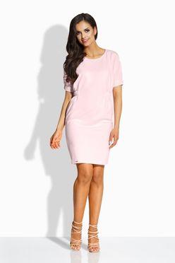 Jednoduché ružové šaty s nariasením v páse L206