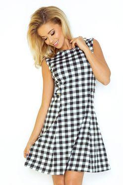 Kárované šaty áčkového strihu 137-4
